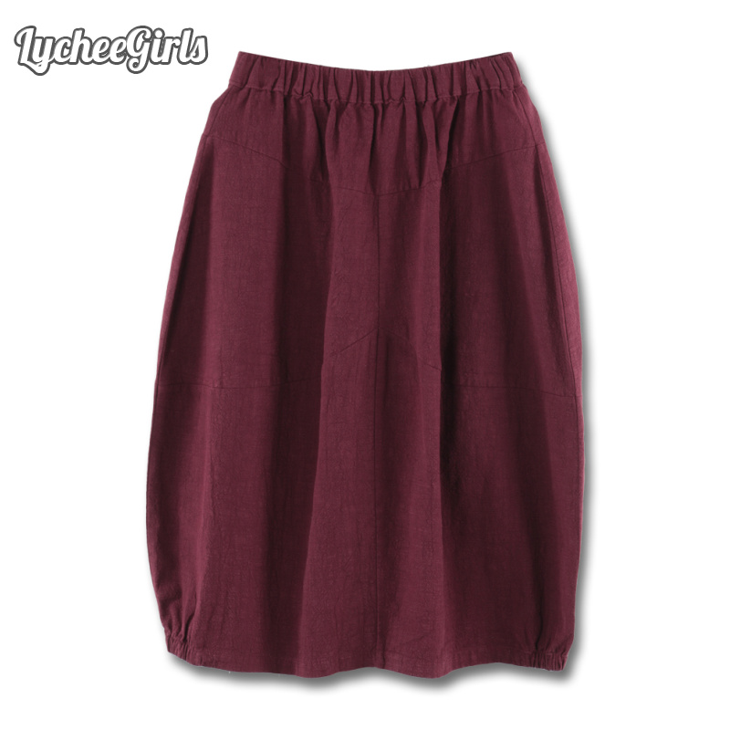 LycheeGirls Vinage Style Women Skirt Pocket Solid Elastic Waist Casual Loose Spring Autumn A Line Skirt