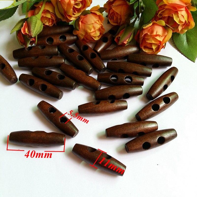 30 шт. 40 мм 2 отверстия деревянные пуговицы для шитья аксессуары оливковая Пряжка большой длинный скрапбук вещевой мешок пальто кнопка - Цвет: 3