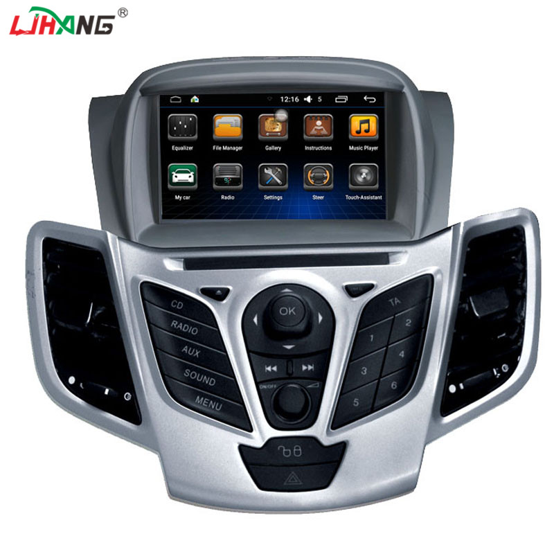 LJHANG Car Multimedia player 2 din Auto DVD player android 6.0 7 Inch For FORD/Fiesta Quad Core 1G RAM 16G ROM Radio FM GPS WIFI funrover 9 2 din android 8 0 car radio multimedia dvd player gps for great wall haval h3 h5 2010 2013 glonass wifi fm quad core