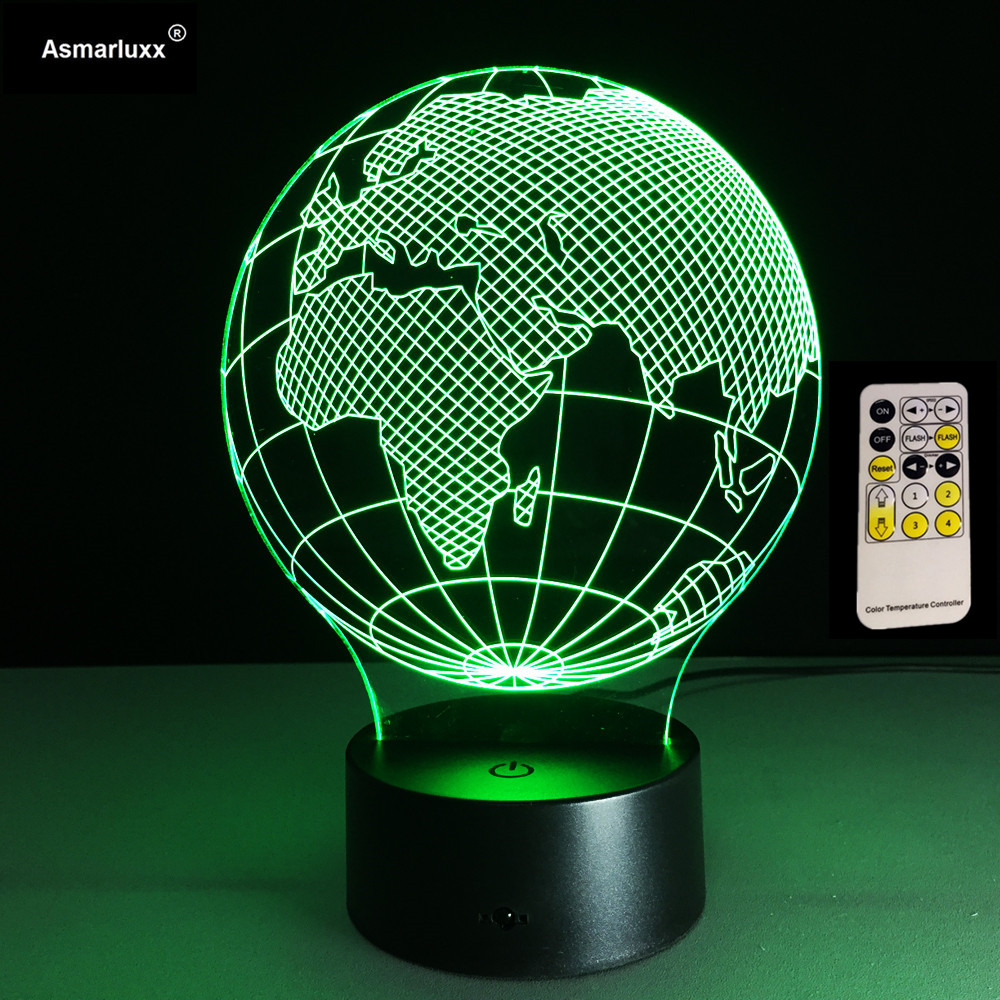 Acrylic Night Light Africa Map 3D LED Lamp 7 Color Change USB Remote Touch Switch Indoor Atmosphere Lamp Bedside Deco Night Lamp