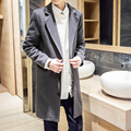 Otoño Nueva Capa de Foso de Lana de Color Sólido Slim Fit Abrigo Moda Casual Masculina Larga Chaqueta de Lana W125