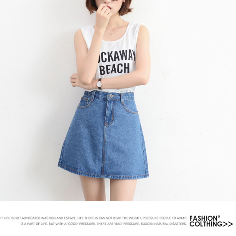 Lucyever Fashion Korean Summer Women Denim Skirt High Waist Black Mini Skirts Package Hip Blue Jeans Harajuku Plus Size Cotton 17