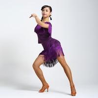 New Customize Custom Fringe Tassel Beaded Diamond Rumba Cha Cha Salsa Tango Latin Dance Competition Dress
