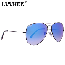 LVVKEE Original Brand Gradient Sunglasses Men 62mm Tempered glass lens pilot Sun Glasses for women Classic driving mirror oculos