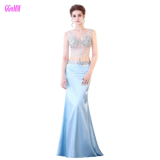 bb67beac54f5 Formal Sky Blue Mermaid Prom Dresses Long 2018 Sexy Party Evening Gowns  V-Neck Tulle Crystal Beading Elastic Satin Prom Dress