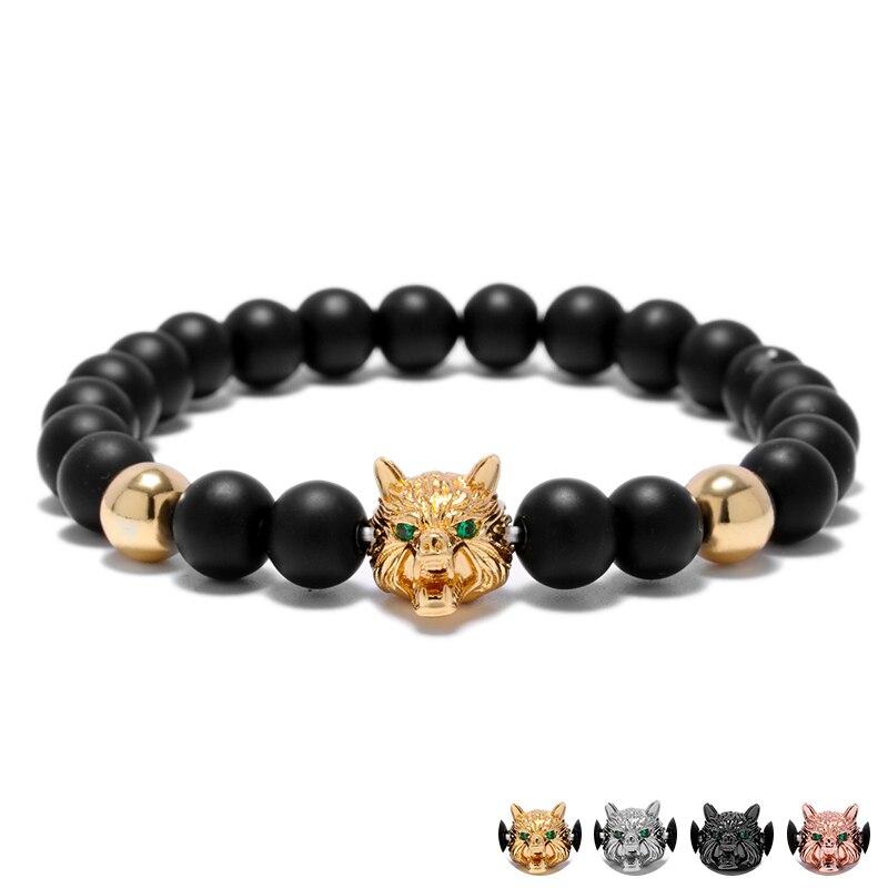 New Green Gem Stone Eye Wolf Strand Bracelets For Men Black Matte Bead Animal Head Mens Bracelet Jewelry Armband Heren