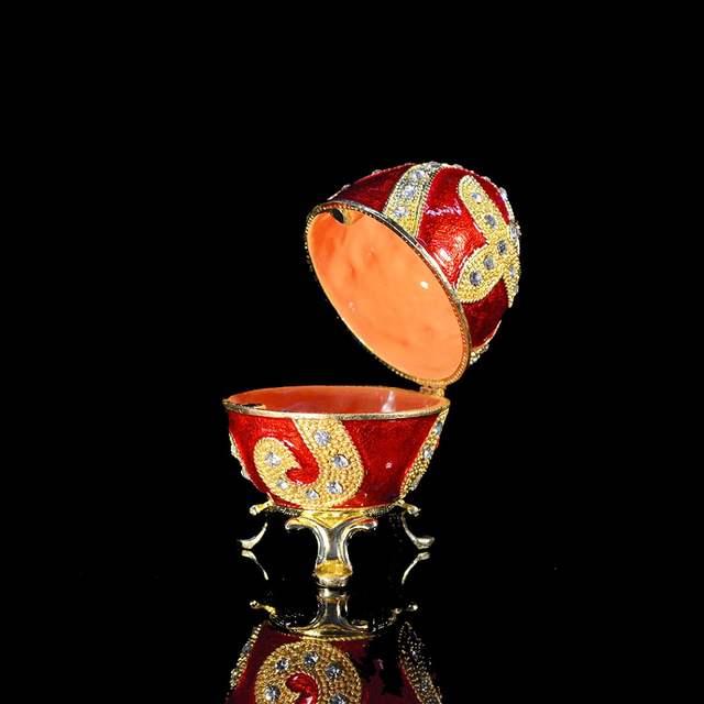placeholder QIFU new fashion Easter metal crafts gifts red Faberge egg  trinket box egg shaped jewelry box c18da2fcdb08