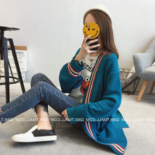 2017 Autumn Winter New Style Loose Panelled Patchwork Stripe Pattern Jacquard Weave Midi Pattern Women Cardigan Knitted Sweater(China)