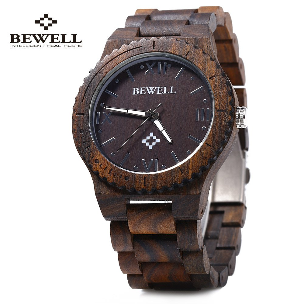 Bewell ZS - W065A Wood Men Quartz Watch Roman Numeral Scales Waterproof Wooden Man watches Brand Luxury relogio masculino 2016 top brand bewell natural handmade sandalwood watch for masculino luxury watches gift reloj mujer zs 100ag