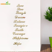 Stairs WordArt Love Live Laugh Dream Mirror Wall Stickers Room Decoration Acrylic Mirrored Decorative Sticker