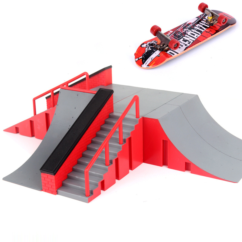 Купить с кэшбэком 1pc Mini Skateboard Toy Skate Park For TechDeck Fingerboard Skateboard Ramps Fingerboard Ultimate Park Training Board