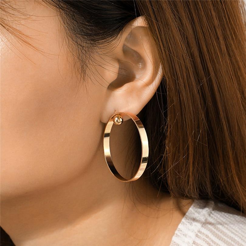 Big Round Earrings For Women Fashion Hollow Earrings Women Fashion Retro Big Circle Bead Pendant Alloy Earring Bijoux 30JUL165