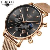 LIGE мужские s часы лучший бренд класса люкс розовое золото сетка сталь кварцевые повседневные модные часы мужские водонепроницаемые наручны