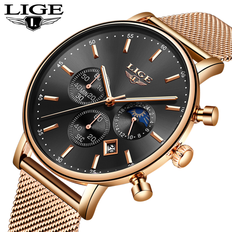 LIGE Mens Watch Top Brand Luxury Rose Gold Mesh Steel Quartz Casual Fashion Watch Men Waterproof Wrist Watch Relogio Masculino LIGE Mens Watch Top Brand Luxury Rose Gold Mesh Steel Quartz Casual Fashion Watch Men Waterproof Wrist Watch Relogio Masculino
