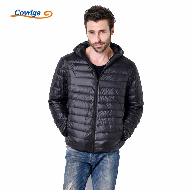 Covrlge 2019 Autumn Winter New Man Duck   Down   Jacket Light Thin Jackets Men Hooded   Down     Coat   Plus Size Outerwear   Coats   MWY025