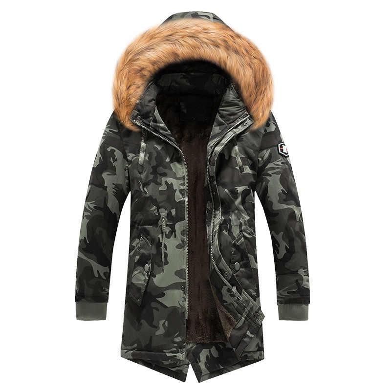 Модная зимняя куртка мужская с меховым воротником Толстая теплая парка мужская верхняя одежда с капюшоном камуфляжная Военная длинная куртка бархатный Тренч повседневные топы