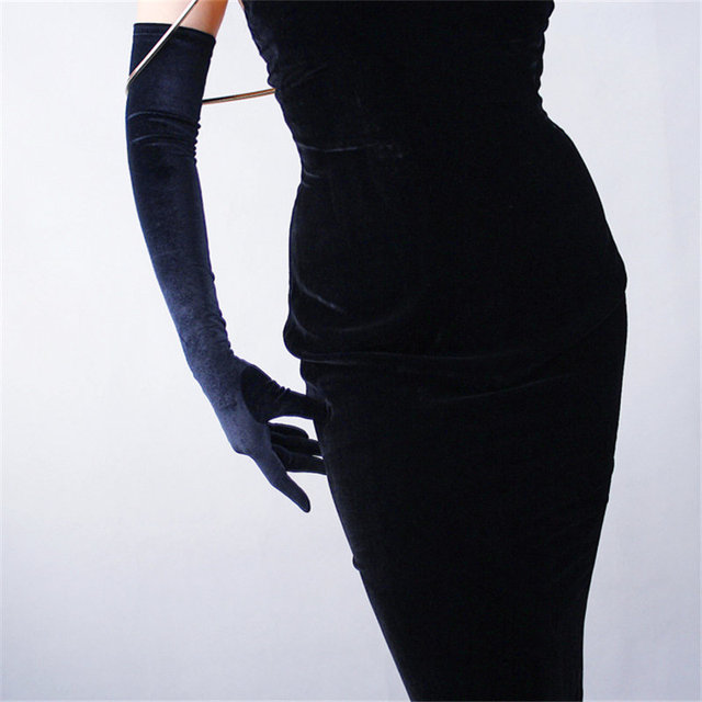 Black Velvet Women Gloves 60cm Long Vintage High Elasticity Evening vestido Gloves Fashion Elegant Lady Mittens TB20 1