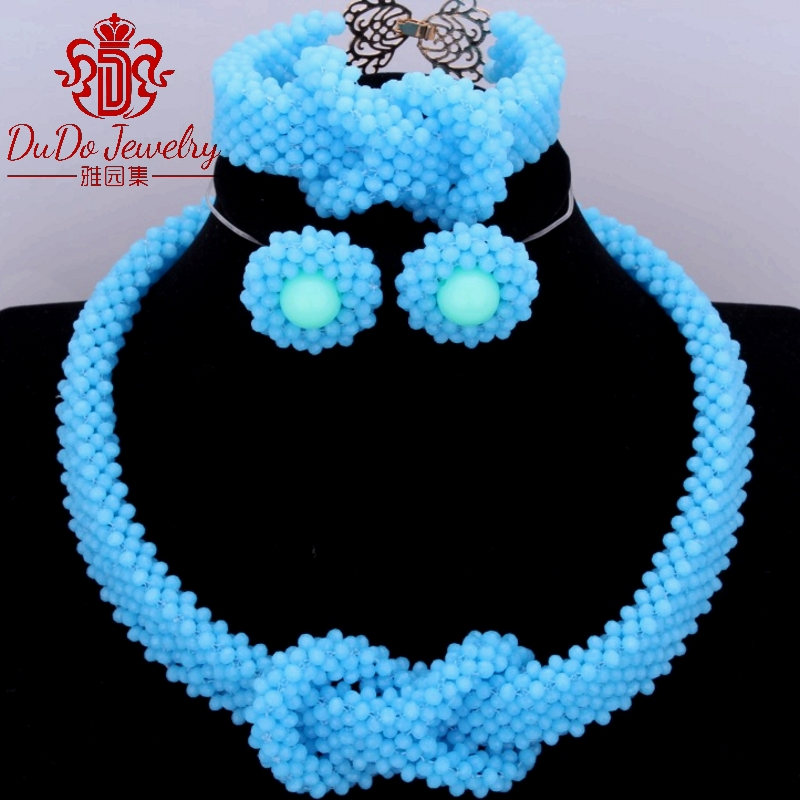 Opaque Sea Blue Women's Nigerian Beads For Brides Party Chunky Necklace Sets Arabic Imitation African Beads Wedding Jewelry Sets