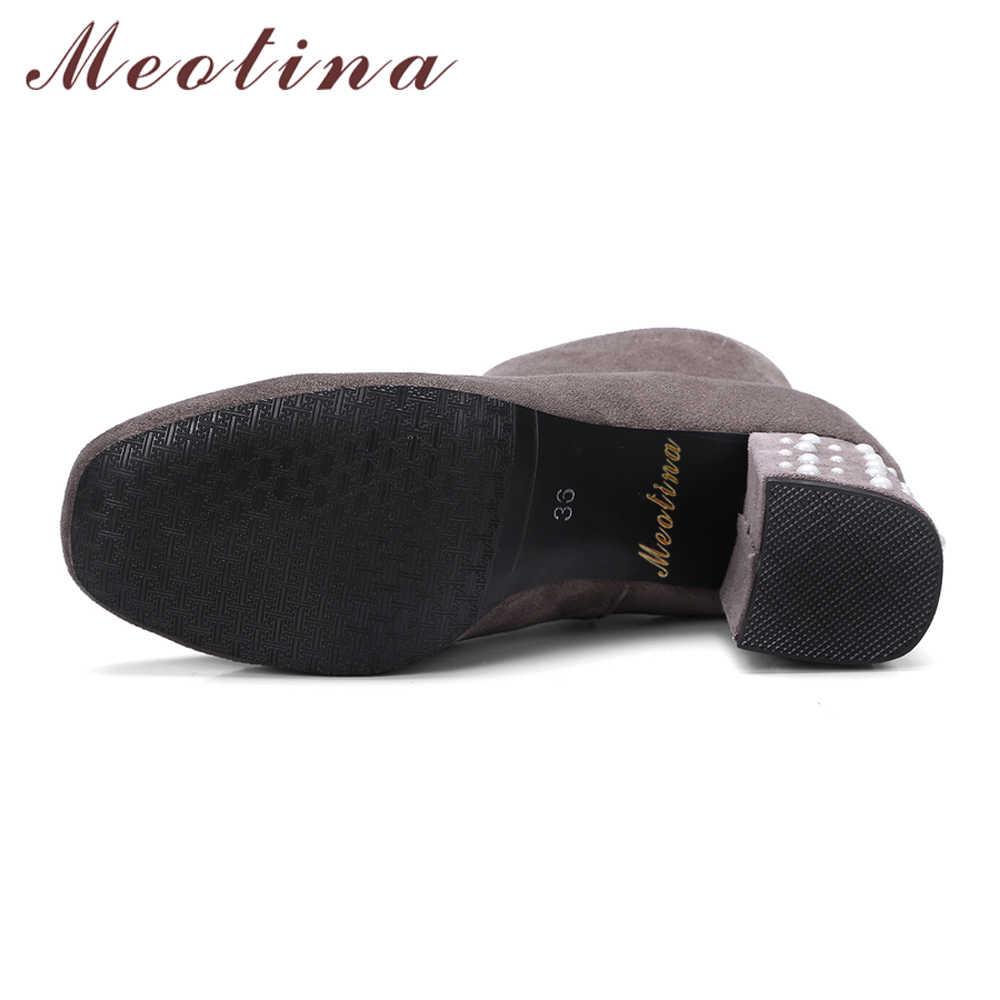Meotina/ботильоны для женщин; зимние сапоги; короткие сапоги на высоком толстом каблуке с бусинами; Осенняя женская обувь на молнии; Цвет Черный; большие размеры 33-46