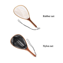 Fly Fishing Landing Net Bamboo And Wooden Frame With Rubber Net Fishing Net 60L*27W*36H Basket Pesca Combo Kit Fish T