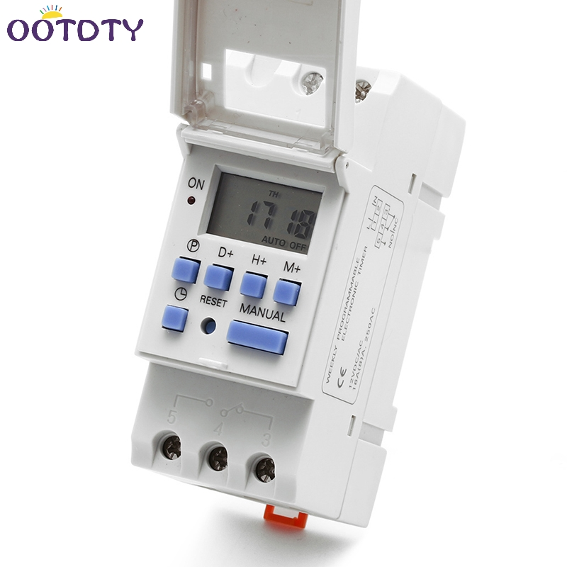New DIN Rail Time Relay Switch Digital LCD Power Programmable Timer DC 12V 12v led display digital programmable timer timing relay switch module stable performance self lock board