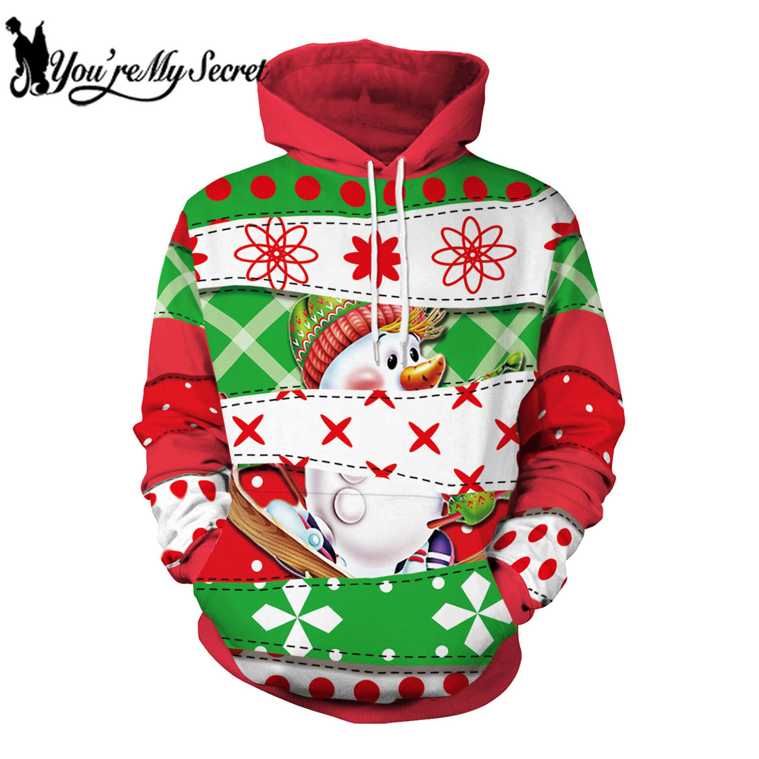 [You're My Secret] 2019 New Arrival Christmas Festival Long Sleeve Warm Hooded Hoodie for Women Men with Kangaroo Pockets