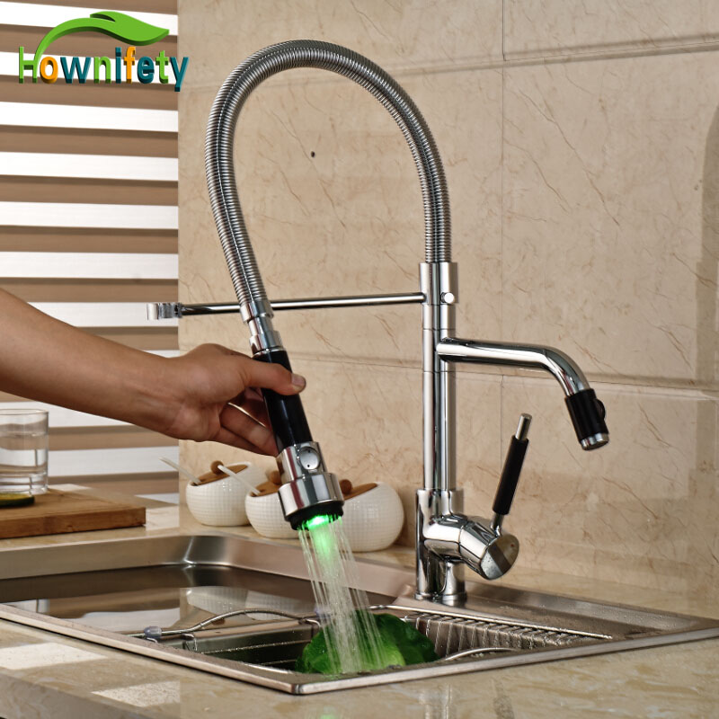 LED Lights Chrome Kitchen Single Handle Mixer Tap Deck Mount Hot &Cold Water Sink Faucet deck mount single handle hot