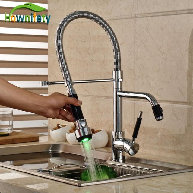 led verlichting chrome keuken enkel handvat mengkraan deck mount hot koud water wastafel kraan