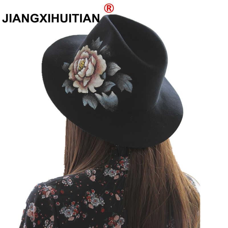 b0dcc9a4cd0bf new luxury Wool Wide Brim Floppy Felt Trilby Hand Painted flower Fedora Hat  For Elegant Women