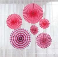 6pcs Set Blue Pink Wheel Tissue Paper Fans Flowers Balls Lanterns Party Decor Craft For Bar