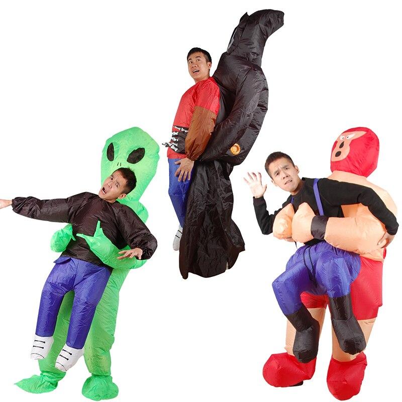 Gonfiabile Costume verde Per Gli Adulti alieni Divertente Blow Up Vestito Del Partito Del Vestito Operato unisex costume di Halloween Costume