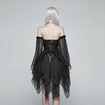 PUNK RAVE Women\'s Lolita Black Elf Transparent Split Chiffon Dress Gothic Sleeves Off-shoulder Asymmetrical Layered Club Dress