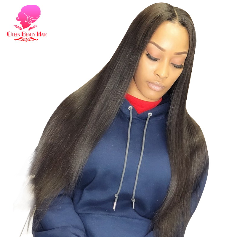 QUEEN BEAUTY Glueless Lace Front Human Hair Wig Straight Brazilian Remy Hair Half Swiss Lace Wigs