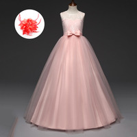 4 13 Year Children Clothing White Lavender Light Blue Red Sleeveless Long Dresses For Party And