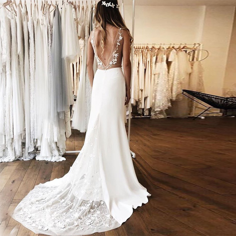 Simple Illusion Mermaid Wedding Dresses Deep V-neck Lace  Backless Bridal Gowns