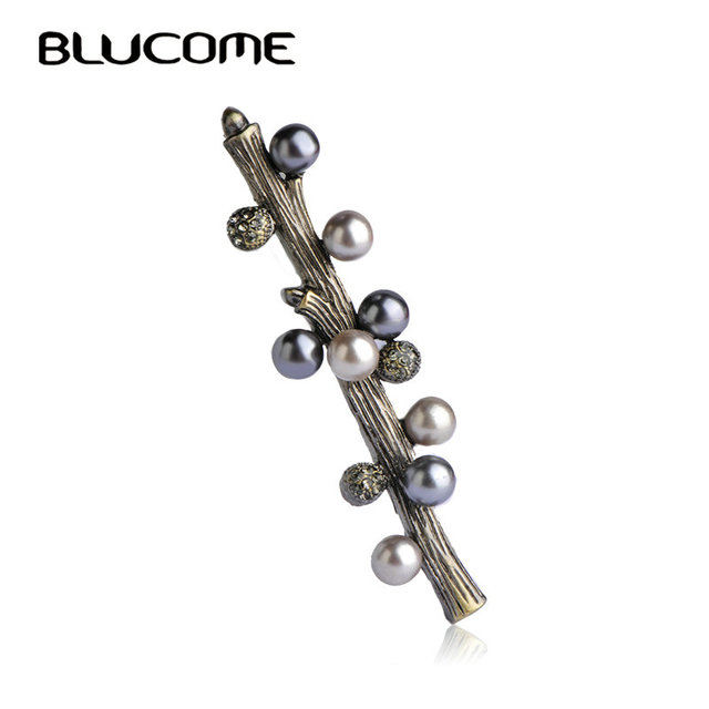 Blucome Simulated Pearl Brooch Vintage Lucky Tree Brooches Hijab Pins Corsages For Wedding Acessorios Para Mulher Jewelry Bijoux