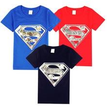 2016 new Korean children short sleeved T-shirt trade baby cartoon children hot silver children's Superman T-shirt 100% Cotton