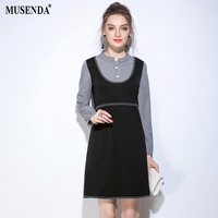 MUSENDA Plus Size Women Black Plaid Patchwork Stand Collar Long Sleeve Dress 2017 Autumn Lady Casual Fashion Brief Work Dresses