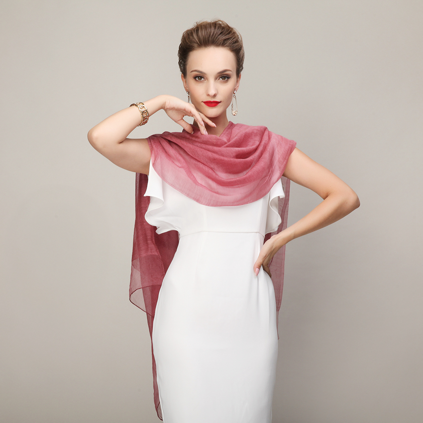 Purple Pink Long Scarf Printed Apparel Accessories Silk Wool Double Face Warm Wool Muffler Summer Winter Women Scarf Shawl