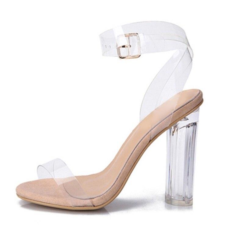 otra oportunidad 68ba0 249ec € 56.05 50% de DESCUENTO|Sandalias elegantes transparentes de PVC con  cierre de tobillo con hebilla y tacones gruesos Zapatos de vestir de verano  2018 ...