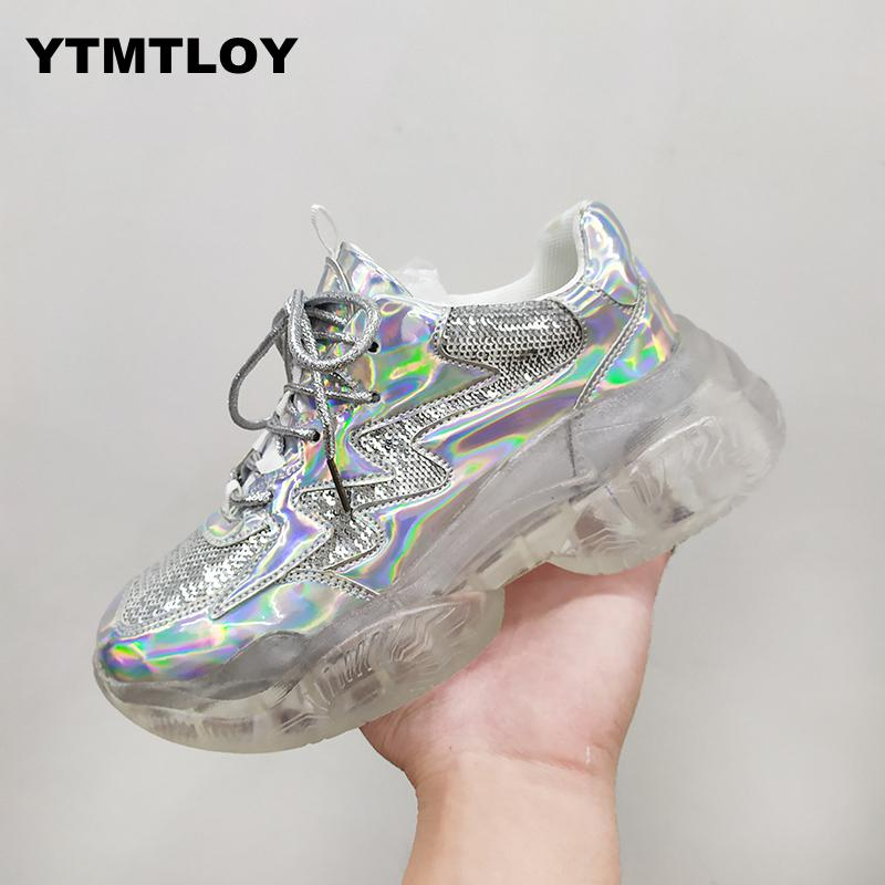 2019 Fashion Women's Chunky Shoes Woman Triple Sole Metallic Sequins Women Glitter Platform Sneakers  Height Increase Shoes 0