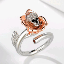 jingyang Austrian Gothic skull Rose Silver Color Rings For Women Girl Fashion Engagement Shiny Crystal Jewelry Trendy Love Gift trendy skull pattern and color block design satchel for women
