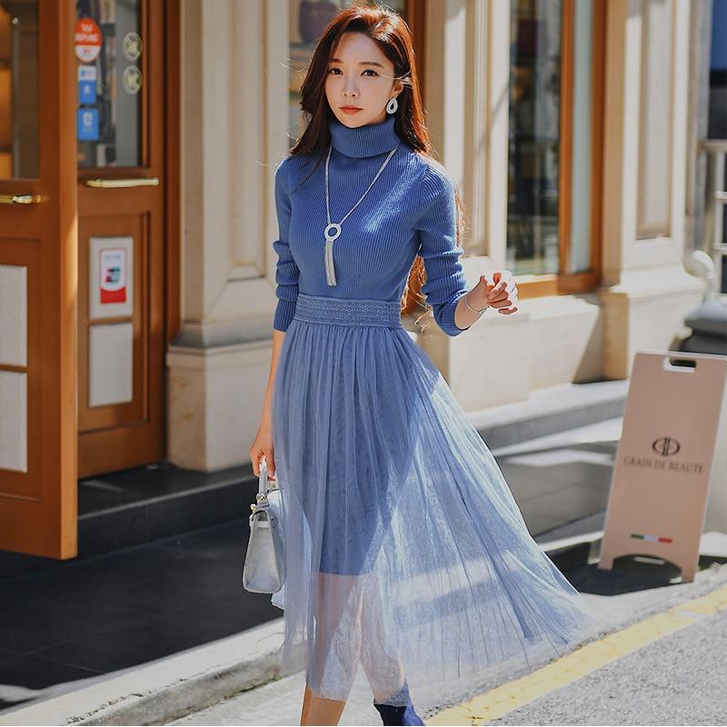 Dabuwawa col roulé hiver dentelle robe costume élégant avertir mince tricoté robe mode noir vendredi sale bleu robe D18DSA003-in Robes from Mode Femme et Accessoires    1