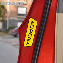 OPEN car styling warning stickers affixed to the door open crash safety