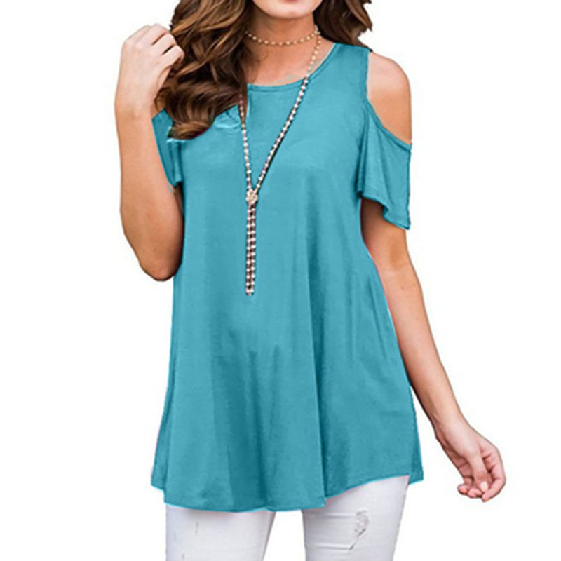 Women T shirt Summer Plus Size Tops Female Solid Short Sleeve O Neck Off Shoulder Shirt Fashion Bohemian Party Beach Shirts D30 in T Shirts from Women 39 s Clothing