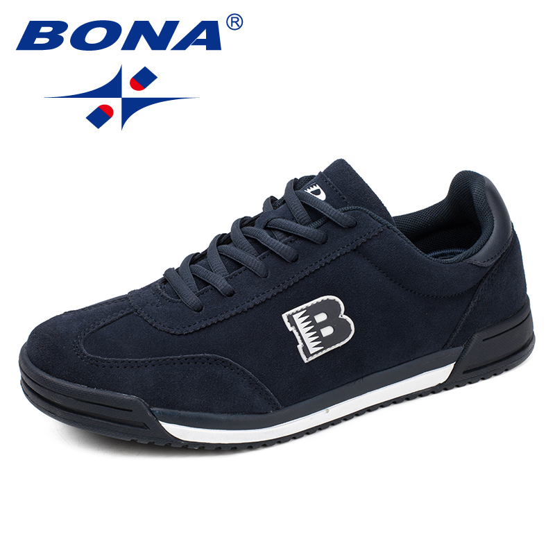 BONA New Classics Style Men Casual Shoes Lace Up Suede Leather Men Shoes Comfortable Men Flats Shoes Soft Light Free Shipping
