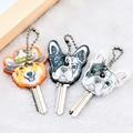Cute Silicone French Bulldog Dog Key Cover Cap Keychain Women Key Chain Ring Girls Kids Bag Charm Accessories Pendant Porte Clef