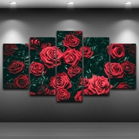 Pictures Home Decor Paintings On Canvas Posters And Prints On The Wall 5 Panel Beautiful Flower Red Roses Landscape Frame PENGDA