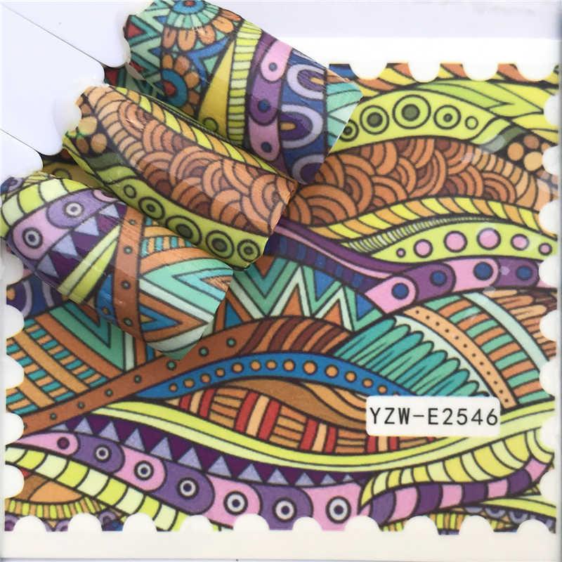 Ywk Stiker Kuku Air Decals Butterfly Floral Hewan Hitam Putih Geometri Slider Manikur Kuku Seni Dekorasi
