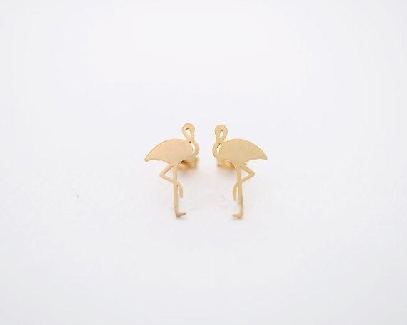 Oly2u 2017 Nouvelle Arrivée Mignon Goujon Animal Boucle D'oreille Flamingo En Laiton oreille goujons Femmes Fille Fête D'anniversaire Bijoux Cadeaux Cool Boucle D'oreille
